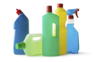 A row of cleaning products
