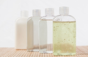 Close-up of different types of shampoos