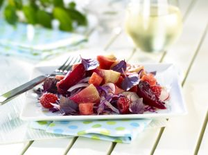 A delicious fruit salad on a table