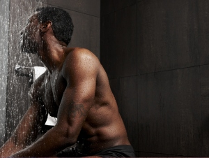 A man showering