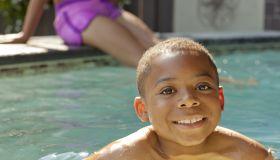 Boy swimming in swimming pool