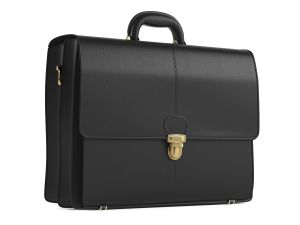 A black leather briefcase