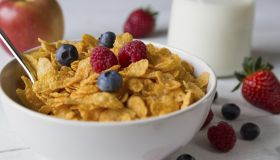 A bowl of cereal sprinkled with fresh berries