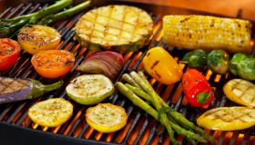 A variety of vegetables on a grill