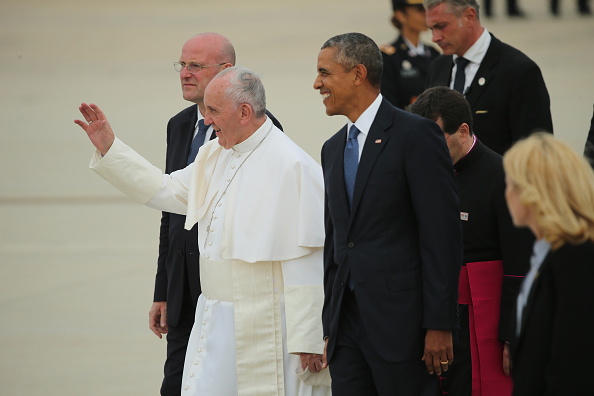 Pope Francis Greets Well Wishers At Airport
