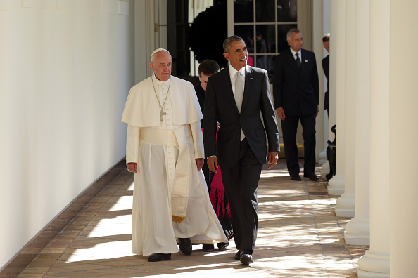 President Obama and Pope Walking To Office