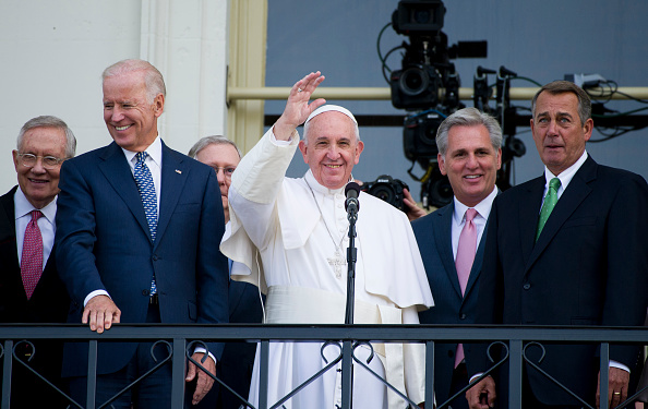Pope Francis Stands on Balcony At Capitol Hill