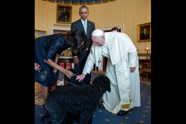 Pope Francis Meets Sunny and Bo